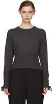 Neil Barrett Grey Cropped Lace-Up Sleeve Sweater