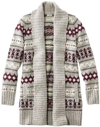 L.L. Bean L.L.Bean Women's Bean's Classic Ragg Wool Sweater, Open Cardigan Vintage Fair Isle