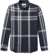 Burberry Slim-Fit Checked Cotton-Seersucker Shirt