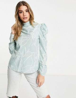AX Paris high neck blouse in mint print