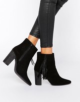Park Lane Tassel Suede Heeled Ankle Boots