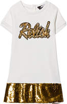 Relish Cream and Gold Sequin Detail Sweat Dress