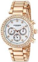 Akribos XXIV Women's AK681RG Lady Diamond Quartz Multifunction Crystal Mother-of-Pearl Rose-tone Bracelet Watch