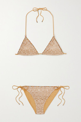 Missoni Mare Metallic Crochet-knit Triangle Bikini - Gold