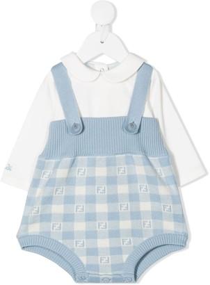 Fendi Kids Shirt And Dungaree Babygrow Set