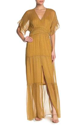 BA&SH Wanda Metallic Accent Maxi Dress