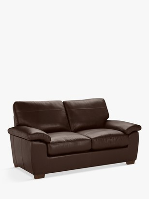 John Lewis & Partners Camden Medium 2 Seater Leather Sofa, Dark Leg
