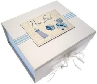 Keepsake White Cotton Cards Baby A5 Box (Blue Rattle)