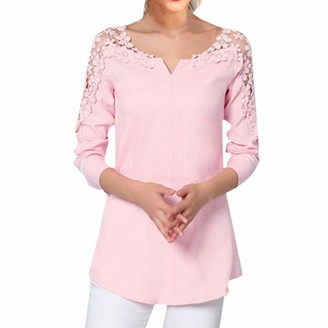 Toamen Women's Top Shirt Jumper Pullover Sale Clearance V Neck Cold Shoulder Long Sleeve Lace Splice Casual T-Shirt Blouse Plus Size(Pink 16)