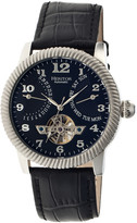 Heritor Automatic Men's Watches Silver/Black - Silvertone & Black Piccard Automatic Leather-Strap Watch