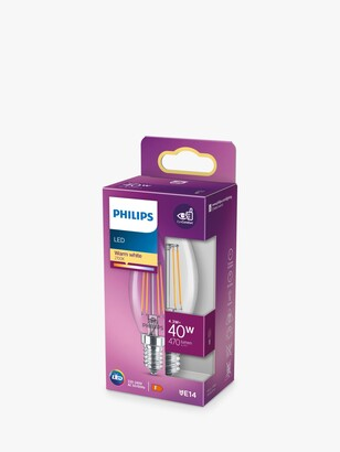 Philips 4.3W E14 SES LED Non-Dimmable Candle Bulb, Clear