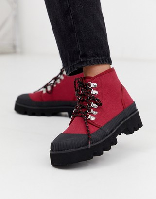 Asos Design DESIGN Astound chunky mud guard hiker in rust-Red
