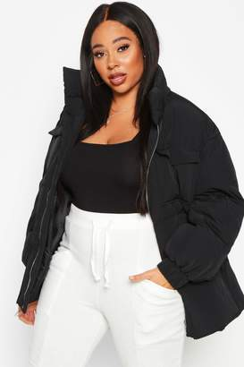 boohoo Plus Belted Funnel Neck Utility Puffer Jacket
