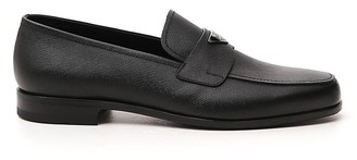 Prada Logo Plaque Penny Loafers