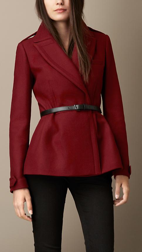 Burberry Double Wool Twill Feminine Pea Coat