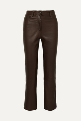 The Row Charlee Leather Straight-leg Pants - Brown