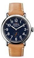 Shinola Runwell Stainless Steel & Leather Strap Watch