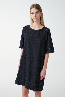 Cos Broderie-Anglais Embroidered Cotton Dress