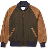 GoldenBear Golden Bear - Virgin Wool-blend And Suede Bomber Jacket - Army green