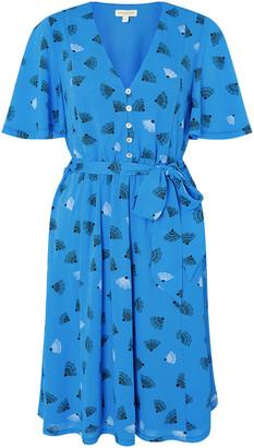 Monsoon Nancy Printed Tie Belt Short Dress Blue