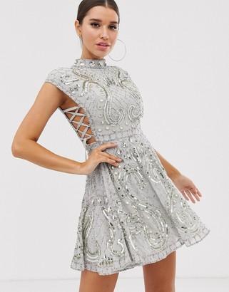 Asos Design DESIGN cut out side lace up embellished mini skater dress-Gray