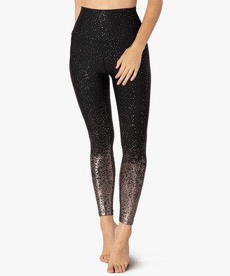 Beyond Yoga Women's Leggings BLGMS - Black & Gunmetal Ombre Speckle High-Waist Leggings - Women