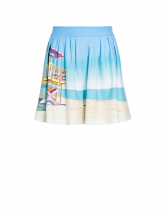Boutique Moschino Beach Postcard Cady Shorts Woman Blue Size 40 It - (6 Us)