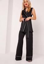 Missguided Pyjama Style Wide Leg Trousers Black