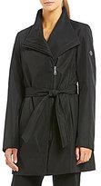 Calvin Klein Asymmetrical Belted Softshell Wrap Rain Coat