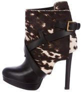 Alexander McQueen Ponyhair Round-Toe Ankle Boots