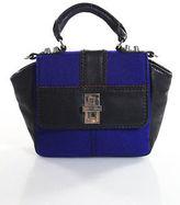 Charlotte Ronson Black Leather Blue Fabric Trim Small Crossbody Handbag