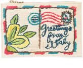 Kayu postcard embroidered clutch bag