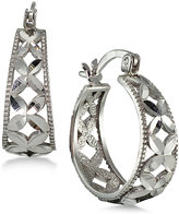 Giani Bernini Sterling Silver Flower Hoop Earrings, Only at Macy's