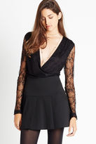 BCBGeneration Lace Sleeve Low V-Neck Bodysuit - Black