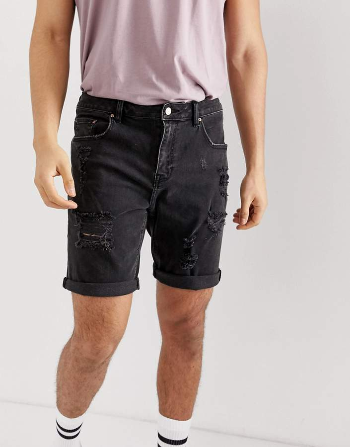 1e80137aea Design DESIGN denim shorts in slim washed black with heavy rips