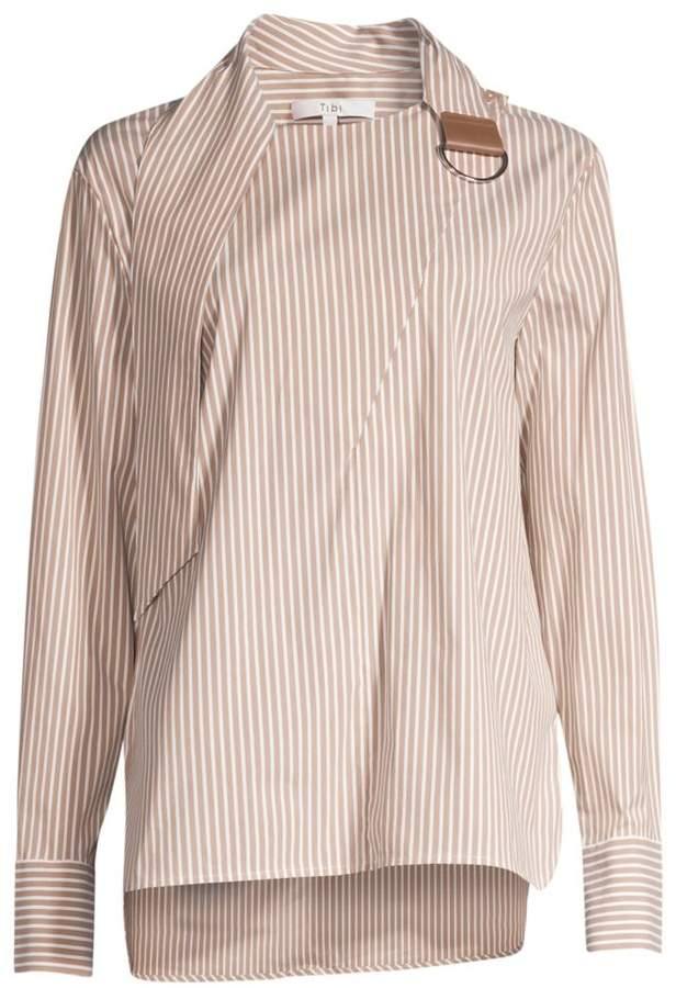 Tibi Kaia Striped Asymmetric Collared Shirt