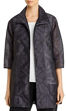 Caroline Rose Geometric Perforated Jacquard Jacket