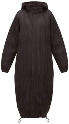 Pleats Please Issey Miyake Reversible Hooded Plisse Coat - Womens - Black