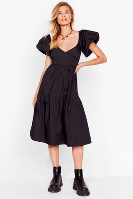 Nasty Gal Womens Puff Act to Follow Relaxed Midi Dress - Black