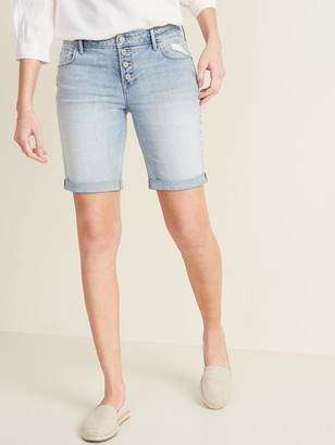 Old Navy Mid-Rise Distressed Button-Fly Bermuda Jean Shorts for Women -- 9-inch inseam