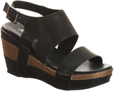 Antelope Black & Brown Double-Strap Leather Wedge Sandal