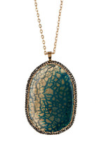 Natasha Accessories Long Chain Large Pave Pendant Necklace