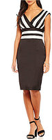 Kay Unger Banded Stretch Satin V-Neck Sheath Dress