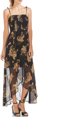 Vince Camuto Print Smocked-bodice Dress