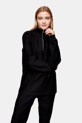 Topman Womens Black Twill 1/4 Zip Sweatshirt - Black