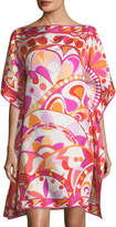 Emilio Pucci Short-Sleeve Printed Silk Coverup Dress