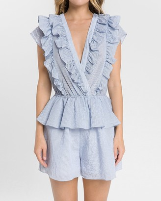 Express Endless Rose Striped Ruffle Romper