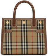 Burberry Brown and Beige Small Vintage Check Two-Handle Title Bag