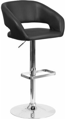 Orren Ellis Whelan Swivel Back Adjustable Height Bar Stool Upholstery: Black