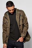boohoo Heavyweight Cotton Utility Parka with Badge Detail